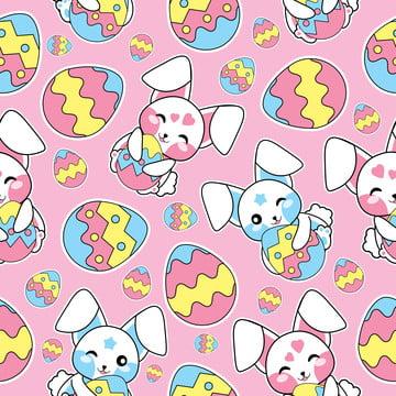 ईस्टर वॉलपेपर कपड़े और स्क्रैप पेपर के लिए उपयुक्त गुलाबी पृष्ठभूमि पर प्यारे बनी और रंगीन अंडे के साथ सहज पैटर्न , ईस्टर, पैटर्न, निर्बाध पृष्ठभूमि छवि