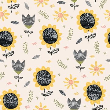 sun flower pattern drawing background  seamless hand drawn floral botanical design vector illustration for textile print , Pattern, Sunflower, Floral Background image