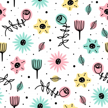 beauty pattern of flowers seamless drawing background with cute scandinavian hand drawn for baby and kids fashion , Pattern, Floral, Seamless Background image