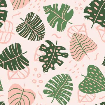 シームレスなパターンと熱帯の葉 , シームレス, パターン, 熱帯 背景画像