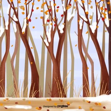 सर्दियों की शुरुआत में बर्फबारी के बाद खूबसूरत जंगल , सर्दियों, पेड़, शरद ऋतु के पत्तों पृष्ठभूमि छवि