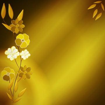 황금 3d 꽃과 나뭇잎 배경 , 배경, 김, 황금 배경 이미지