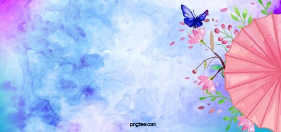 प्राचीन शैली के जल रंग परिदृश्य मुद्रण और रंगाई हाथ से चित्रित छाता फूल, प्राचीन काल, पानी के रंग का, से पृष्ठभूमि छवि
