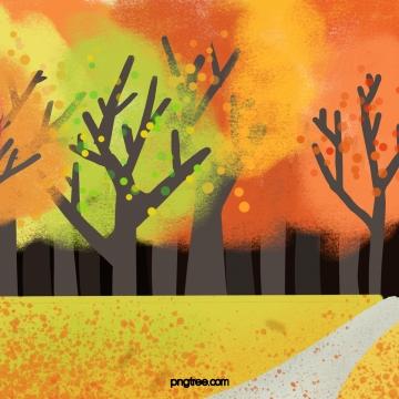 秋天 黃色的植物 葉子 , 枯萎和黃色, 葉, 樹 背景圖片