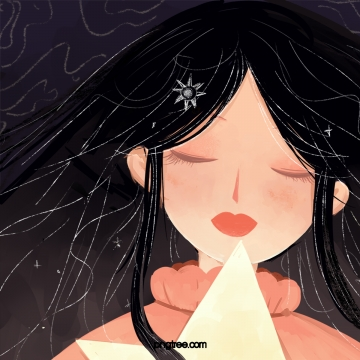 Black long haired girl with closed eyes , Black, Long Hair, Girl Background image