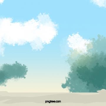 blue green gradient watercolor sky beach , Biru, Hijau, Gradien imej latar belakang