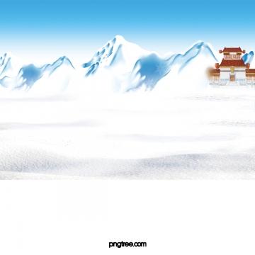 漫画中国風の建物雪山のシーン , Scenes, 雪山, 季節 背景画像