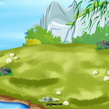 कार्टून ग्रीन लॉन स्ट्रीम वाटर रॉकरी व्यू , दर्शनों की संख्या, Scenes, ग्रीन पृष्ठभूमि छवि