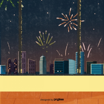 hand drawn night scene fireworks city elements , Hand Painted, Nightscape, Fireworks Background image