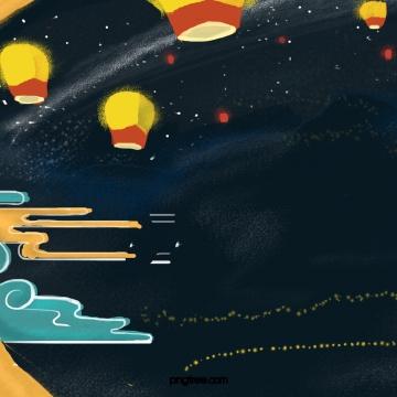 festival pertengahan lilin terapung kongming lantern night sky starry sky , Itu Festival Pertengahan Musim Gugur, Terapung, Tanglung imej latar belakang