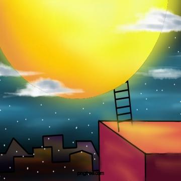 मध्य शरद ऋतु समारोह पीला चंद्रमा बादल सीढ़ी , मध्य शरद ऋतु समारोह, पीले, चाँद पृष्ठभूमि छवि