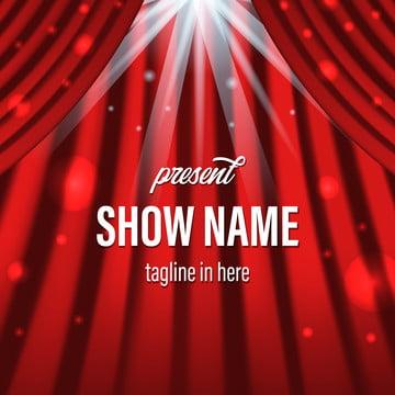 舞台映画館の照明スポットライトと赤いカーテンが特別なパフォーマンス , カーテン, 赤, ステージ 背景画像
