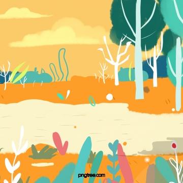 川の土手に木の芝生 , 川の流れ, 川の水, 河岸 背景画像