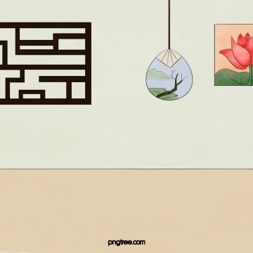 ビンテージ建物インテリア窓枠蓮の壁絵画飾り , 復古, 建築物, 室内 背景画像