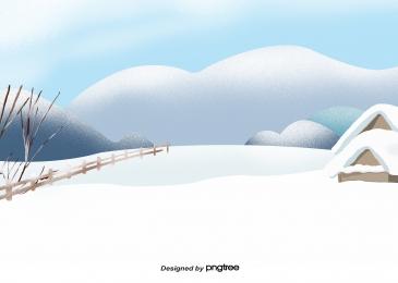 冬天冰雪房子樹, 冬天, 冰雪世界, 房屋 背景圖片