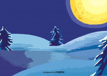 सर्दियों का पेड़ देवदार का चाँद, Winter, पेड़, Pine पृष्ठभूमि छवि