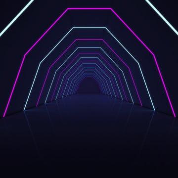 3d render hành lang đèn tường , Nền, Abstract, Đèn Neon Ảnh nền