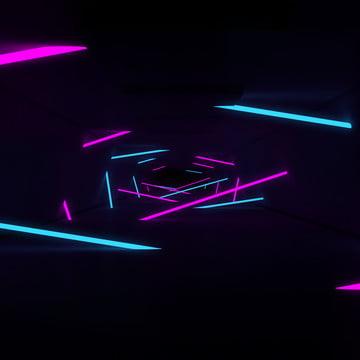 phòng 3d với hành lang đường phát sáng neon , Nền, Abstract, Đèn Neon Ảnh nền