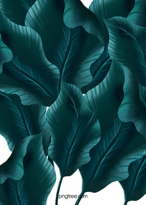 Hand drawn emerald plant leaves background, Hand Painted, Emerald, Plant Background image