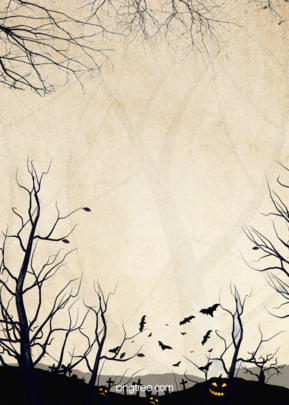 retro halloween grave silhouette style poster background , Bat, Withered Tree, Poster Background image