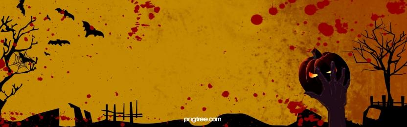 cartoon hand drawn bloodstain graveyard horror halloween banner background, Banner, Webpage, Bat Background image