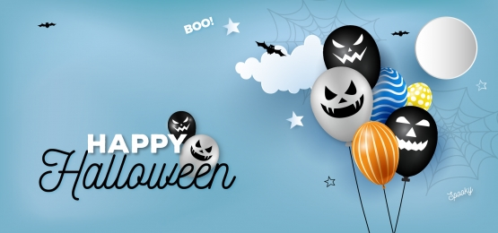 creative halloween modern paper art ghost balloon header banner background, Halloween, Ghost Balloon, Balloon Background Background image