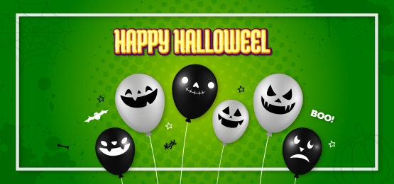 creative modern halloween ghost balloon green background, Halloween, Ghost Balloon, Balloon Background Background image