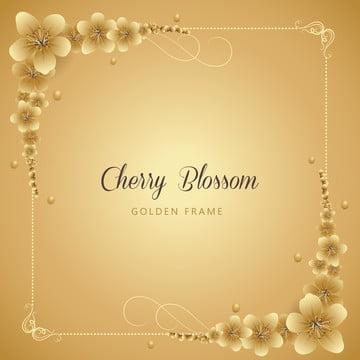 गोल्डन चेरी ब्लॉसम फ्रेम बैकग्राउंड , मौसम, जश्न मनाने, चेरी खिलना पृष्ठभूमि छवि