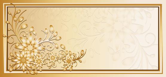 金色框架與矢量花卉元素, 背景, 花, 框架 背景圖片