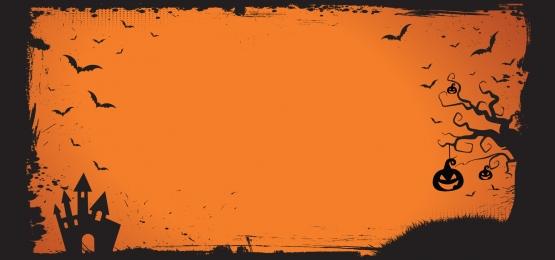 mẫu biểu ngữ halloween với ngôi nhà đáng sợ bí ngô và biên giới dơi bay, Halloween, Băng Cờ, Mẫu Ảnh nền