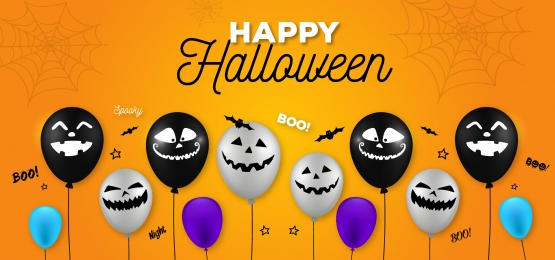 halloween banner with halloween ghost balloons spider and bat scary air balloons background, Halloween, Ghost Balloon, Balloon Background Background image