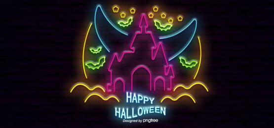 halloween castle neon lights, Halloween, Castle, Bat Background image