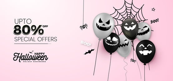 halloween ghost balloon and halloween special offer header banner background, Halloween, Ghost Balloon, Balloon Background Background image