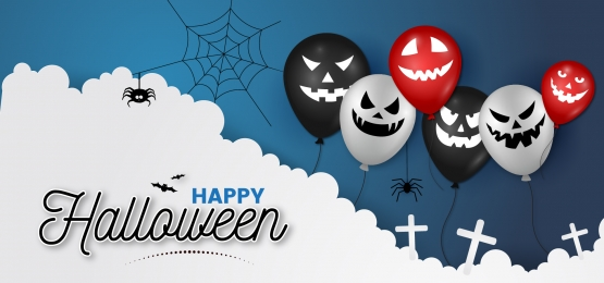 halloween ghost balloon cloud night modern art background, Halloween, Ghost Balloon, Balloon Background Background image