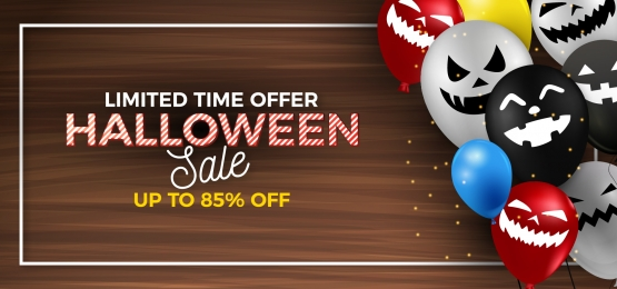 halloween special discount ghost balloon header banner background, Halloween, Ghost Balloon, Balloon Background Background image
