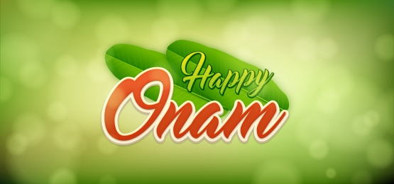 happy onam with green leaves bokeh background, Onam, South India, Bokeh Background image