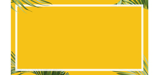 horizontal vector summer palm leaves yellow banner background template with border, Backdrop, Background, Banner Background image