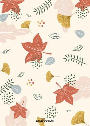 morandi colorful hand drawn autumn leaves background , Leaf, Plant, Autumn Background image