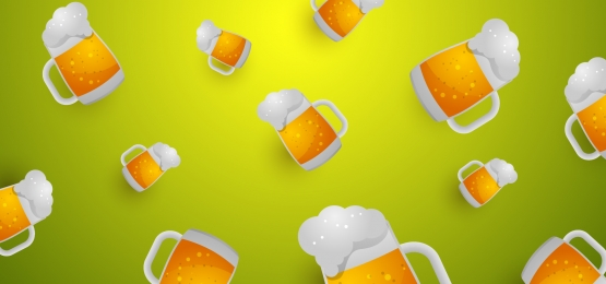 oktoberfest background with glasses of beer  glasses with a drink on a green background, Octoberfest, Background, Beer Background image