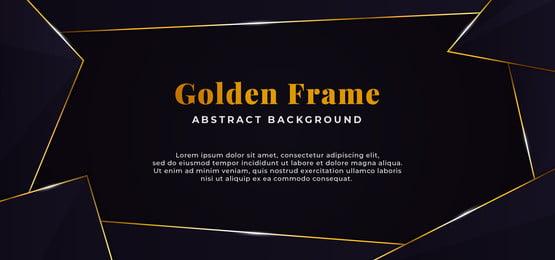 geometric abstract shape with golden line border frame decoration  dark blue paper background vector illustration  banner template design, Stack, Paper, Board Background image