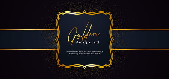 golden decorative sparkling frame with gold glitter decoration effect on dark blue paper background with ribbon vector illustration  poster banner template design, Floral, Decorative, Art Background image