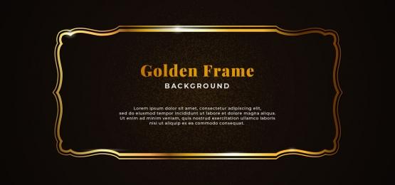 golden decorative sparkling frame with gold glitter on dark black paper board background vector illustration  elegant banner template design, Decorative, Vintage, Classic Background image