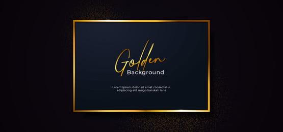 golden sparkling box frame with gold glitter effect  square dark blue paper board badge on black background vector illustration  banner template design, Square, Badge, Frame Background image