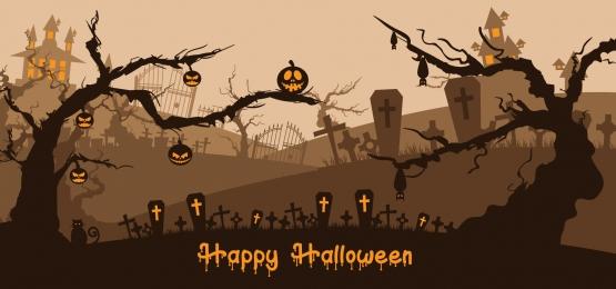 cây bí ngô halloween và ngôi nhà ma ám trên nghĩa địa, Khủng Bố, Ác, Nền Ảnh nền