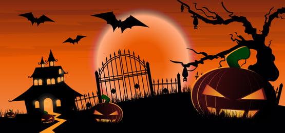 संतरे की पृष्ठभूमि पर चांदनी के साथ हैलोवीन कद्दू डरावना पेड़ और प्रेतवाधित घर, हॉरर, बुराई, पृष्ठभूमि पृष्ठभूमि छवि