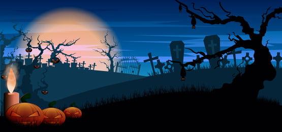 phong cảnh halloween đáng sợ với mộ và bí ngô trên nền màu xanh đậm, Khủng Bố, Ác, Nền Ảnh nền