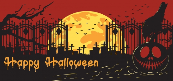 happy halloween  pumpkins and crow on graveyard background, Horror, Evil, Background Background image