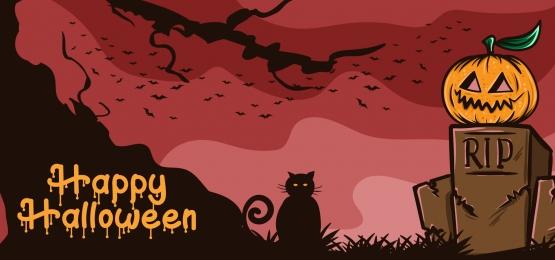 hạnh phúc halloween bí ngô đáng sợ trên mộ với minh họa vector mèo đen, Khủng Bố, Ác, Nền Ảnh nền