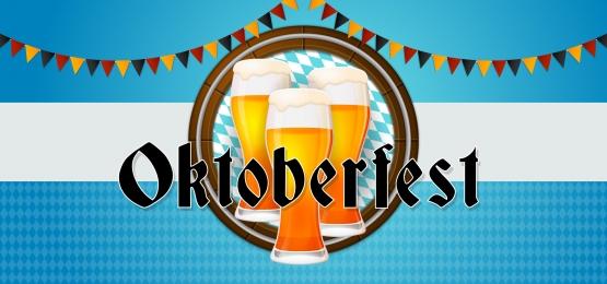 oktoberfest party banner poster design  set of beer glass with barrel background and bavaria germany flag ornament vector illustration, Oktoberfest, October, Festival Background image