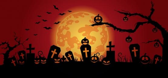 bí ngô trên sân mộ với ánh trăng và dơi bay trên nền đỏ minh họa vector halloween vui vẻ, Khủng Bố, Ác, Nền Ảnh nền